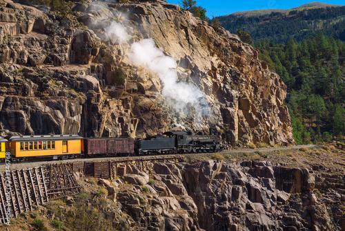Fotografie, Obraz  Historic steam engine train in Colorado, USA