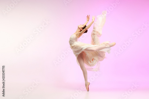 Fotografering Young graceful female ballet dancer or classic ballerina dancing at pink studio