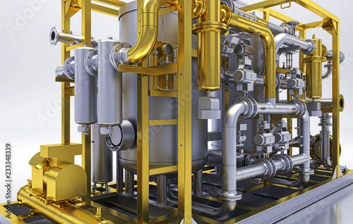 Photo Impianto di pompe, piping, BIM, illustrazione 3d