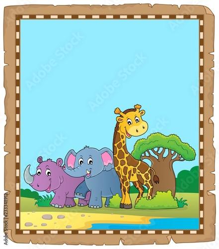 Staande foto Voor kinderen Parchment with African animals 4