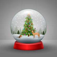 Christmas Snow Globe With Snow...