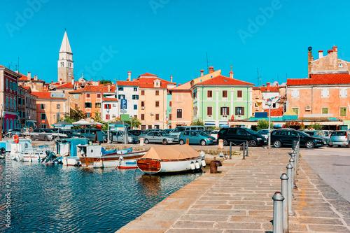 Photo  Embankment of marina with boats Adriatic Sea Izola