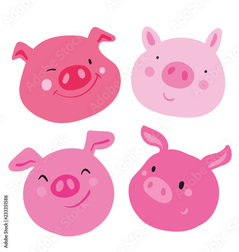Photo Cute collection of four faces pink pig