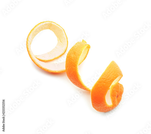 Pinturas sobre lienzo  Peel of tasty ripe orange on white background