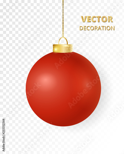 In de dag Bol Hanging Christmas ball. Mat gloss red metal bauble, holiday decoration.