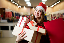 Happy Girl Shopping Gifts In M...