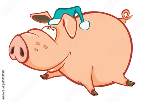Foto op Plexiglas Babykamer Vector Illustration of a Cute Pig. Cartoon Character. Coloring Book. Outline