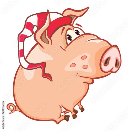 Vector Illustration of a Cute Pig. Cartoon Character. Coloring Book. Outline