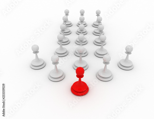 Fototapeta 3d pawn leader concept. chess concept . 3d rendered illustration