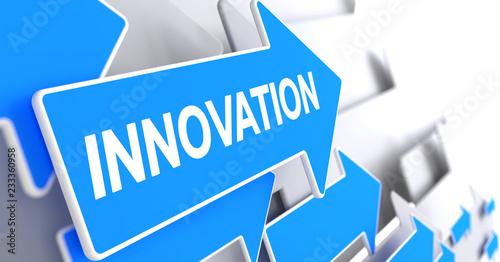 Innovation - Message on Blue Arrow. 3D Render. #233360958
