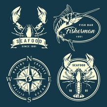 Vintage Monochrome Nautical And Marine Labels