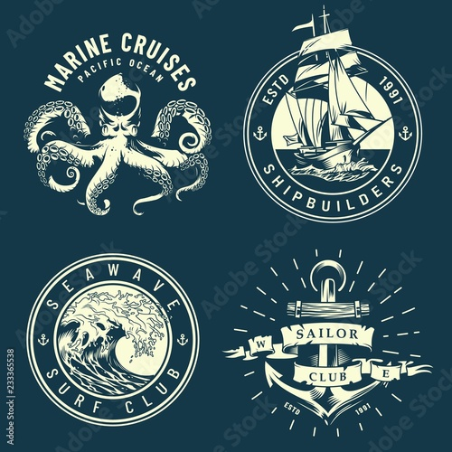 Leinwand Poster Vintage marine and nautical logos