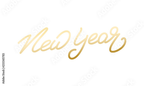 New Year. Holiday illustration of gold lettering. New Year label. Canvas-taulu