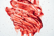 Top View Of Blood Smeared With...