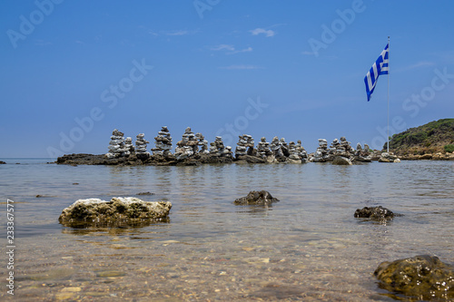 Stone pyramids in the bay by Faliraki, Rhodes Greece