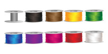 Set Of Bobbins With Colorful Threads Vector Illustration