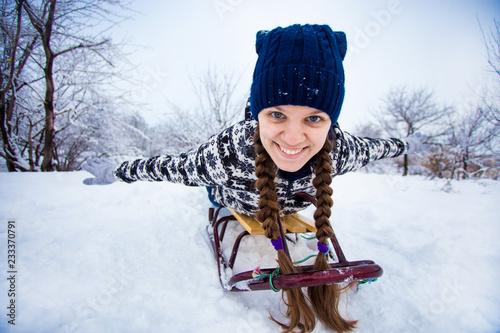 Crazy Woman Enjoy Sleigh Ride Woman Sledding Funny Woman Play