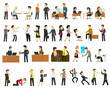Large set of vector flat character design on businessman working and presenting process gestures, actions and poses.