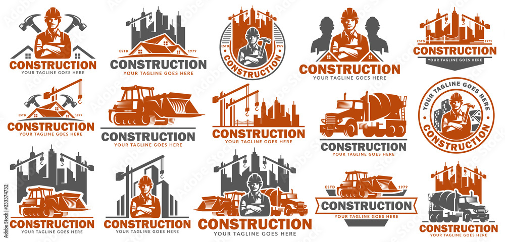 Fototapeta Construction logo template set, logo pack, logo bundles, vector pack of Construction logo