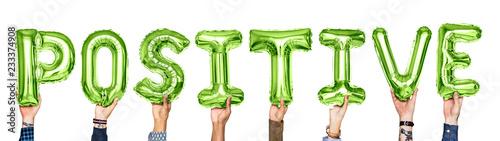 Fotografie, Obraz  Green alphabet balloons forming the word positive