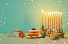 Image Of Jewish Holiday Hanukkah Background With Menorah (traditional Candelabra).