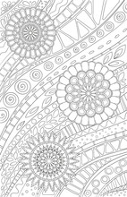 Coloring Page For Adult And Kids Coloring Book Or Bullet Journal. Doodle Floral Pattern With Flowers And Geometric Lines. Black And White Vector Background