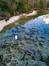 Indonesia, Bali, Padang, Aerial View Of Thomas Beach, Banca Boats