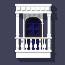 Classic Style Balcony With Balusters, Gables And Columns. Arched Window. Architectural Element With Built-in Shadows.