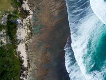 Indonesia, Bali, Aerial View Of Uluwatu Beach