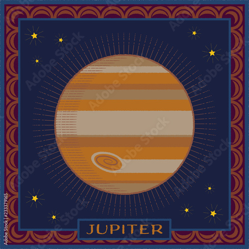 Fotografie, Obraz  planet jupiter | celestial illustration with frame and name plate