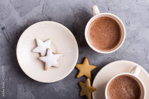 Christmas cookies and  hot chocolate