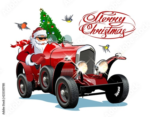 Staande foto Cartoon cars Vector Christmas Greeting Card with Christmas lettering