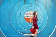 Asian Woman Walking In Hong Ko...