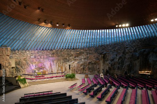 Helsinki, Finland, october 2018. Interior view of the famous stone church, an icon of this nice scandinavian city. Its finnish name is