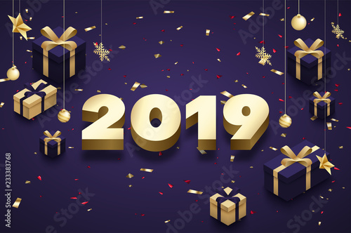 purple happy new year 2019 poster with golden 3d gifts