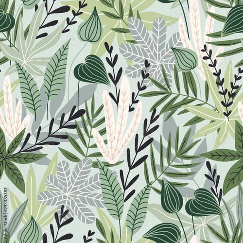 Tapeta zielona  seamless-pattern-with-tropical-leaves-beautiful-print-with-hand-drawn-exotic-plants-swimwear-botanical-design-vector-illustration