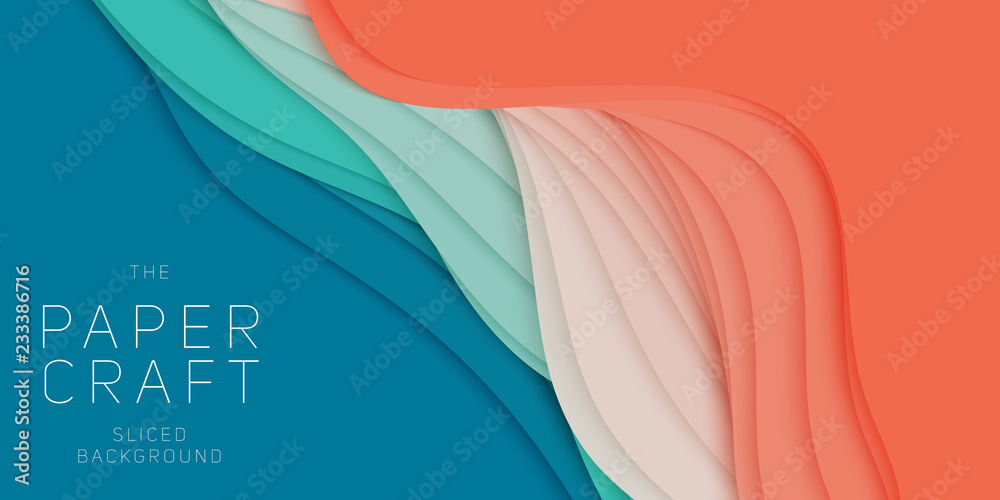 Fototapety, obrazy: Vector 3D abstract background with paper cut shape. Colorful carving art. Paper craft Antelope canyon landscape with gradient colors. Minimalistic design for business presentations, flyers.