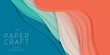 Vector 3D abstract background with paper cut shape. Colorful carving art. Paper craft Antelope canyon landscape with gradient colors. Minimalistic design for business presentations, flyers.