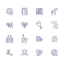 Wine Line Icon Set. Bottle, Glass, Barrel, Grape. Wine Making Concept. Can Be Used For Topics Like Viticulture, Industry, Production