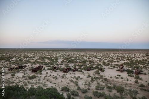 Rusty ships in Moynaq, Uzbekistan