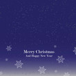 Merry Christmas Greetings At Night With Snowflakes Falling Blue Background