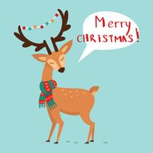 Cute Christmas Deer In A Scarf...
