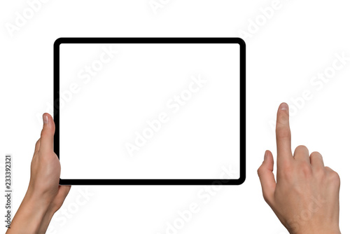 Fotografia  Digital tablet in hands. Isolated on white background