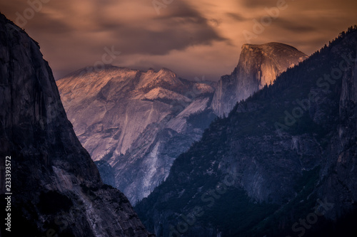 Spoed Foto op Canvas Violet Tunnel view in Yosemite National Park at sunset golden hour - long exposure photography