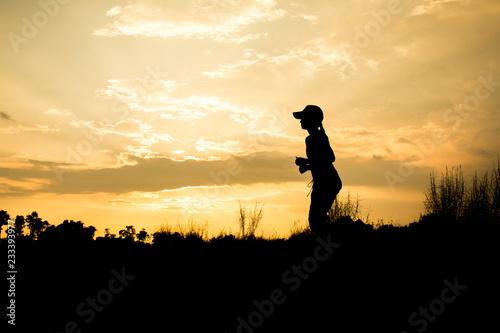 Deurstickers Baksteen Fitness silhouette sunrise jogging workout wellness concept