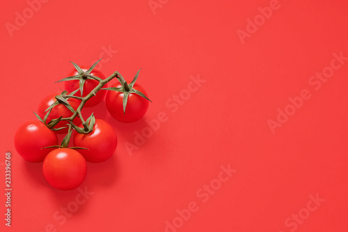Six red ripe cherry tomatoes on the vine on a matching red background.  Right side composition wth copy space and room for text