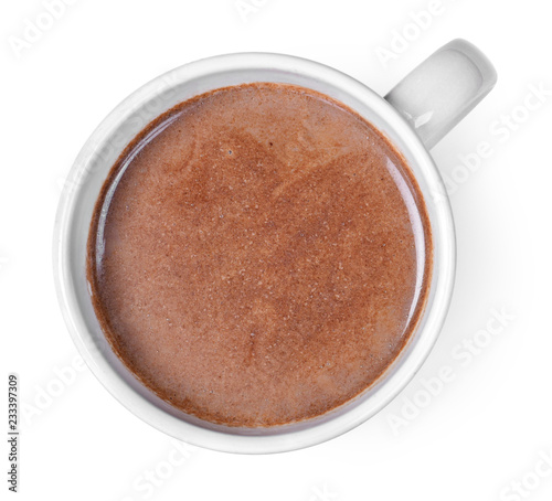 Hot chocolate or cocoa drink in a cup or mug. Top view of hot chocolate, isolated on white background.