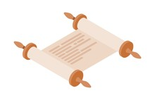 Expanded Torah Scroll In Isometric Style On A White Background. Vector Illustration