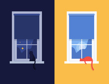 Windows Day And Night. The Cat Sits And Sleeps On The Windowsill. Vector Flat Illustration