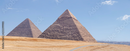 Photo Panorama of the area with the great pyramids of Giza, Egypt